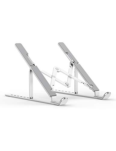 "Laptop Stand, Portable Computer Laptop Mount Holder, Aluminum Laptop Riser with 7 Levels Height Adjustment, Compatible with MacBook Air Pro, Dell XPS, HP, Lenovo More 10-15.6"" Laptops"