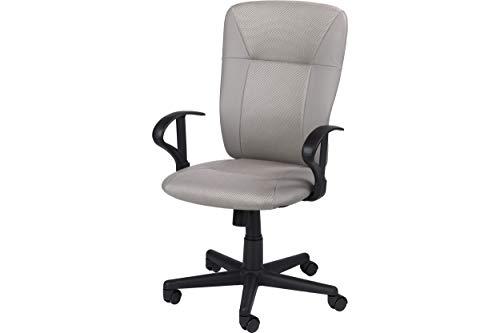 Homemania Felix bureaustoel, grijs/zwart verstelbare zithoogte met wielen en armleuningen, polyester, nylon, eenheidsmaat