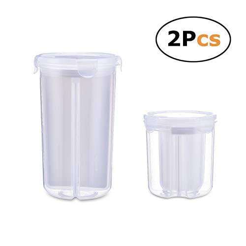 Boîtes de rangement hermétiques en plastique durable transparent avec 4 compartiments pour céréales, noix, farine, sucre, etc. avec couvercles verrouillables.