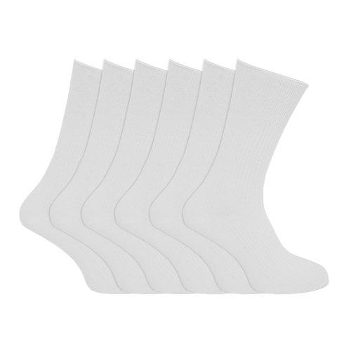 Produit spécialisé: Chaussettes striées, 100% coton - homme (lot de 6 paires) (Homme EUR 39-45) (Blanc)
