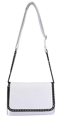 CRAZYCHIC - Damen Ketten Umhängetasche - Kleine Saffiano Leder Schultertasche - Abendtasche Kettentasche - Frauen Messenger Tasche - Trendy Modische Handtasche - Crossbody Bag - Weiß