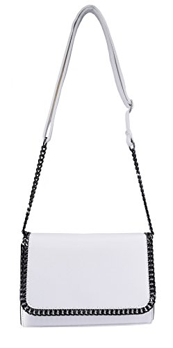 CRAZYCHIC - Bolso de Hombro Bandolera Cadena Mujer - Bolsos de Noche Cuero Genuino Saffiano - Clutches Cartera de Mano Embrague - Crossbody Messenger Bag Mini - Moda Chicas - Negro