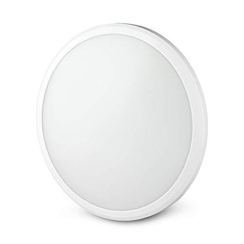 V-TAC Pro VT-12SS - Plafón LED de 12 W con chip Samsung circular cuerpo slim con kit de emergencia y sensor microondas IP65 6400 K – SKU 938