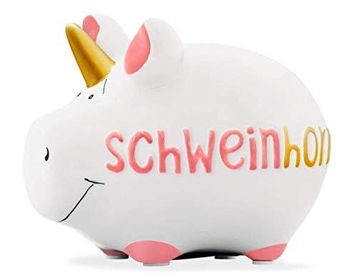 Merz-Design Sparschwein aus Keramik SCHWEINHORN ca. 12,5x9x8cm Spardose mit wiederverwendbarem Verschluss - Sparbüchse für Hochzeit, Geburtstag, Auto, Reise etc.
