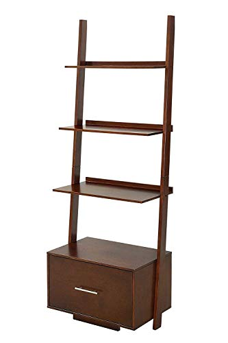 Convenience Concepts American Heritage Ladder Bookcase with File Drawer, Espresso