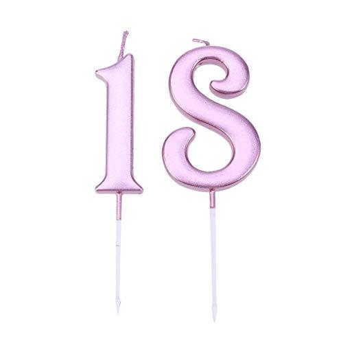 Amosfun Celebración espumosa 18 Velas numéricas Brillo Dorado Feliz cumpleaños Pastel Velas número Pastel Topper decoración (Oro Rosa)