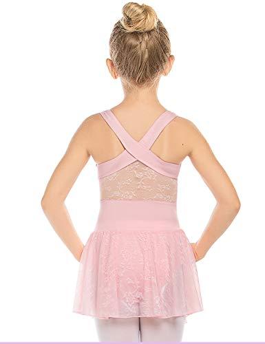 Bricnat Mädchen Ballettkleidung Ballettkleid Kinder Tanzkleid Ballettanzug Ballett Trikot Ärmellos Balletttrikot mit Spitze