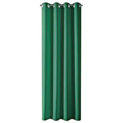 Design91 - Cortina Opaca Lisa con 8 Ojales, Moderna, Sencilla, para Dormitorio, habitación de los niños, salón, Verde Oscuro, 135 x 250 cm