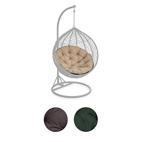 Gardenista | Tufted Outdoor 105cm Round Hanging Swing Chair Seat Cushion| Hammock Indoor Outdoor Seat Pillow | Foam Crumb Filling (Stone)(Does NOT Come With Chair)