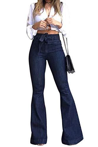 Sopliagon Pantalones Vaqueros de Mezclilla para Mujer Pantalones Largos de Campana de Vendaje elástico de Cintura Alta Más Alto M