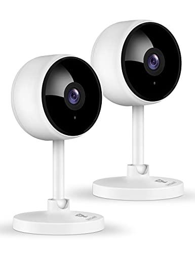 2台2021最新強化版ネットワークカメラ littlelf 200万画素 ペットカメラ wifiカメラ 屋内 ベビーモニター 超広角 動作検知 暗視機能強化 双方向音声 クラウドストレージ 猫 犬 子供 老人見守り 3年保証 Alexa対応 日本語取扱説明書(白)