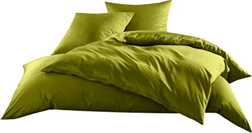 Mako-Satin Baumwollsatin Bettwäsche Uni einfarbig zum Kombinieren (Bettbezug 155 cm x 220 cm, Grün)