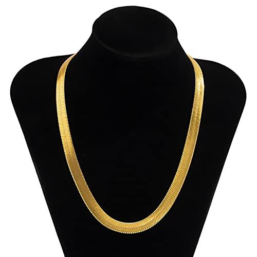 SONGK Collar de Cadena de Serpiente Grueso Punk para Hombre, Collar de Gargantilla Corto de Color Dorado/Plateado de Hip Hop para Mujer, joyería de Cadenas para el Cuello