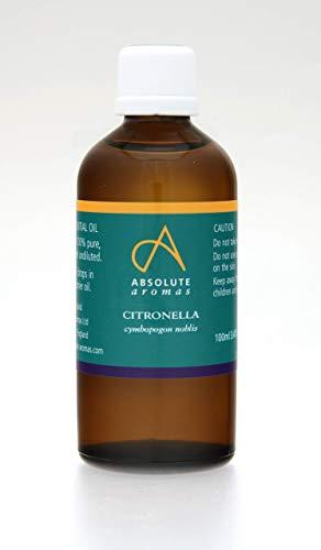 Absolute Aromas Aceite esencial de citronela 100ml - 100% puro, natural, sin diluir y sin crueldad animal - Para uso en Aromaterapia y Difusores (100ml)