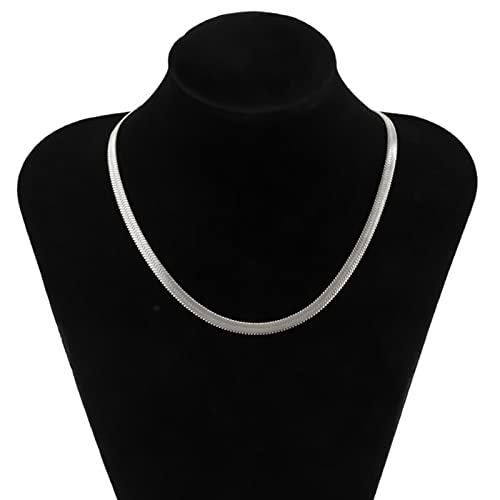 LCUK Simple Serpiente Cadenas de Acero Inoxidable Collares en el Cuello Moda Oro/Plata Color Corto Gargantilla Collares Mujeres 2021 joyería