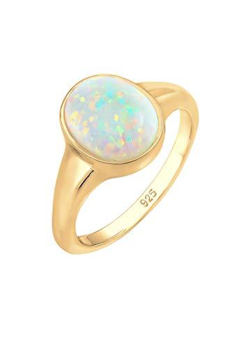 Elli Ring Siegelring mit Synthetischer Opal aus 925 Sterling Silber vergoldet