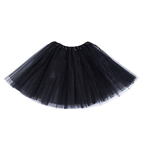 MUNDDY® - Tutu Elastico Tul 3 Capas 40 CM de Longitud para Adulta Distintas Colores Falda Disfraz Ballet (Negro)