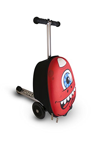 ZincFlyte Kid's Luggage Scooter 15' - Sid the Cyclops, Red