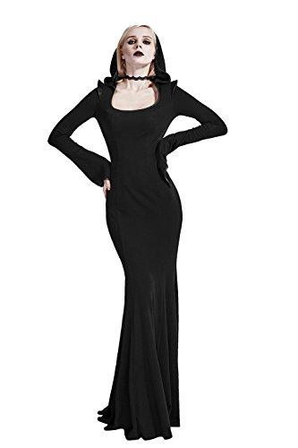 Punk Steampunk Long Sleeves Dresses for Women Cotton Buckles Decor Rock Mid Dresses L Black