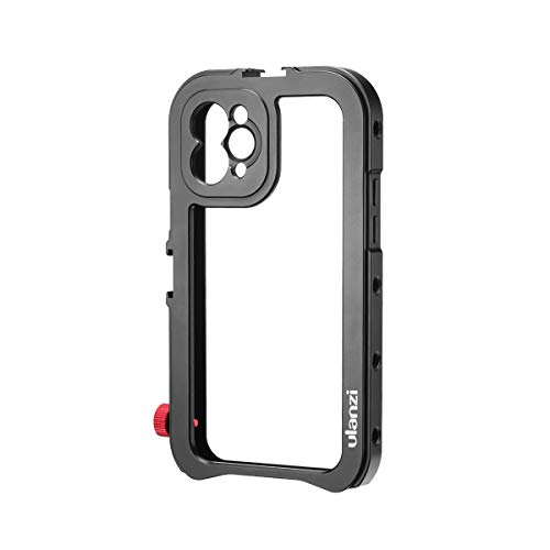 ULANZI Aluminum Video Cage for iPhone 11 Pro Max, Protective Smartphone Vlog Frame Housing w Lens Adapter 1/4'' Screw 2 Cold Shoe Mounts for Microphone LED Video Light for iPhone 11 Pro Max Vlogging