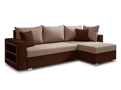 Ecksofa Lord mit praktischen Regal - Sofa mit Bettkasten und Schlaffunktion, Schlafsofa, Polsterecke, Couch L-Form, Couchgarnitur, Sofagarnitur (Braun + Beige (Alova 68 + 07), Ecksofa Rechts)