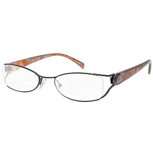 エール 老眼鏡 3.0 度数 メタルフレーム バネ蝶番 ブラック AM112S