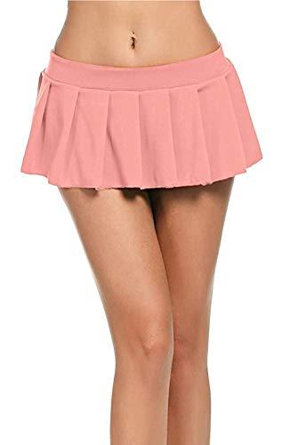 Minirock - kurzer Damen Plissee Rock Club Wear (Coral, XL)