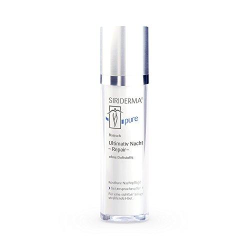 SIRIDERMA pure Ultimativ Nacht -Repair- | Ohne Duftstoffe | 50 ml | Basische Anti-Age Nachtpflege | Hyaluron und 8 Pflanzenöle | Vegan