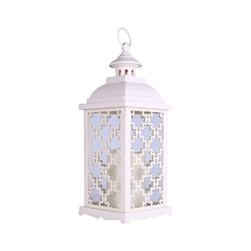 OSALADI 1 Pc 1 Pc Européen En Fer Forgé Verre Coupe-Vent Lampe Bougie De Table De Mariage Jardin Suspension Lampe- Sans Batterie (Blanc Chaud)