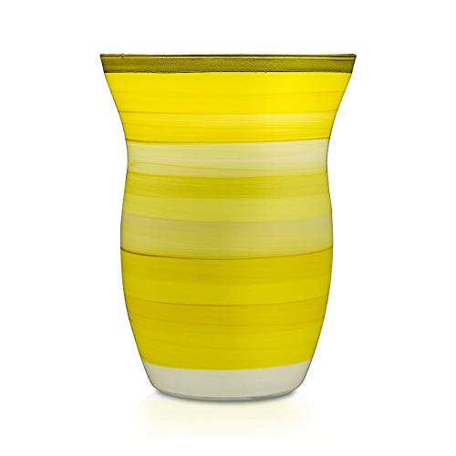Angela Neue Wiener Werkstätte Vase Monika, Lemon Sherbet Jarrón de Cristal Pintado,...