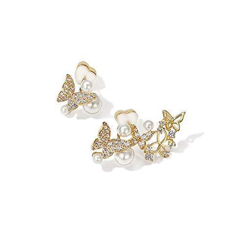 Pendientes de perla de mariposa para mujeres y niñas, pendientes asimétricos hipoalergénicos únicos de moda sintética zirconia cúbica pendientes brillantes Idea de regalo