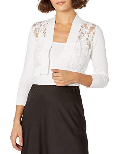 Calvin Klein Women's Lace Cut Shrug, White, Medium Petite