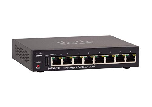 Cisco SG250-08HP Gigabit-PoE High-Performance Smart Switch mit 8 Ports (SG250-08HP-K9-EU)