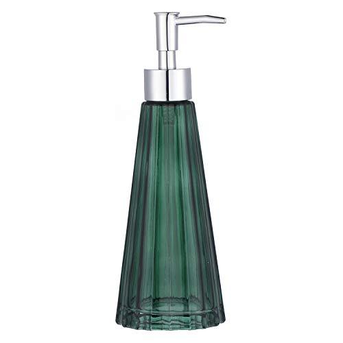 YunNasi Dispensador de Jabón Líquido Dosificador de Jabón Hecho de Vidrio para Detergente para Platos Loción de Champú Encimera de Baño Cocina Lavadero (Verde Oscuro)
