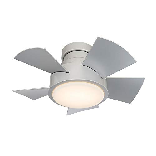 Vox Indoor and Outdoor 5-Blade Smart Flush Mount Ceiling Fan 26in Titanium with 3000K LED Light Kit and Remote Control
