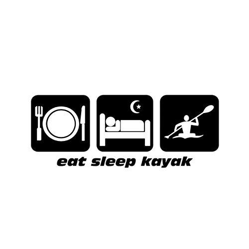 FAFPAY Sticker de Carro 15,7 * 6,1 CM Interesante Comer Dormir Kayak decoración gráfica Pegatina de Coche Accesorios de Vinilo C16-1185