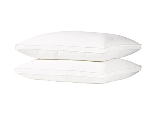 Ella Jayne Home Queen Size Bed Pillows- 2 Pack White Hotel Pillows- Gel Fiber Filled FIRM Gel Pillows with Hypoallergenic Gusset Cover- Best Pillow For Side Sleepers & Back Sleepers