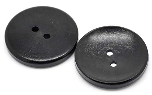 Handarbeit-Lieblingsladen 12 Holzknöpfe in schwarz 30 mm 2-Loch Knopf zum Annähen und Basteln