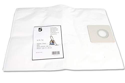 5 hochwertige Staubbeutel in Micro Speziel Vlies passend für Nilfisk Aero 20, 25, 26, 31, 35, Nilfisk Buddy 15, 18, Nilfisk Inox - Ersatz für Nilfisk-Alto 302002404 Filter Bag Set Aero