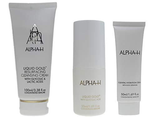 ALPHA-H Liquid Essential Hydration Cream 50ml + Liquid Gold mit Glykolsäure 50ml + Liquid Gold Resurfacing Cleansing Cream 100ml