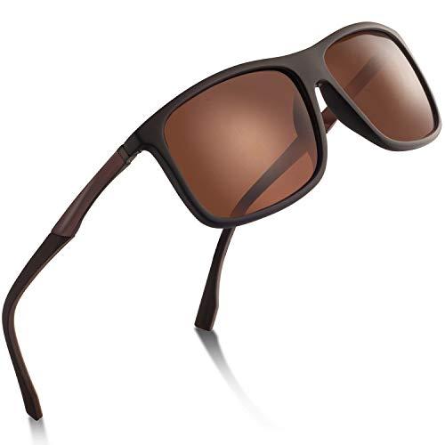 wearPro Sports Sunglasses Man - Polarized Sports Sunglasses for Men Women Driving Fishing Cycling Travel Mirrored Eyewear (brown)