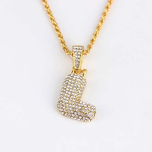Dfgh Zirconia Crystal Alphabet Ketting for mannen vrouwen Hip Hop 26 A-Z Letters Hanger Naam Ketting Gouden Ketting Jewelry (Metal Color : L)