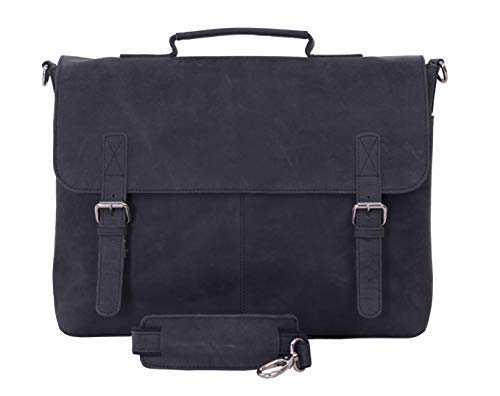 KomalC 16 Inch Retro Buffalo Hunter Leather Laptop (Fits upto 15.6 Inch Laptop) Messenger Bag Office Briefcase College Bag (Charcoal Black)