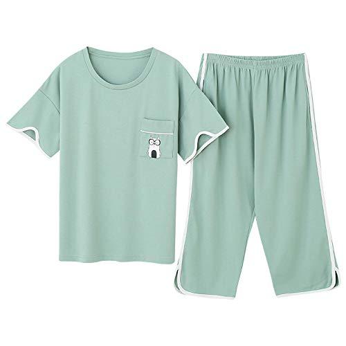 LEYUANA Plus Size M-4XL Damen Pyjama Set Sommer Kurzarm Pyjama 100% Baumwolle Damen Nachtwäsche Süße Pyjamas XXXL CGE1002