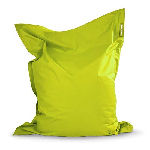 Green Bean © Square XXL Riesensitzsack 140x180 cm - 380L - Indoor Outdoor - waschbar, ergonomisch, doppelt vernäht, extrem robust, Abnehmbarer Bezug - Gaming Sitzsack Bean Bag Chair - Hellgrün