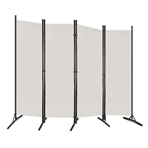 Hanliin 205x175cm Stellwand Paravent Trennwand Raumteiler Sichtschutz für Büros, Arbeitsstätten, Balkon, Beige