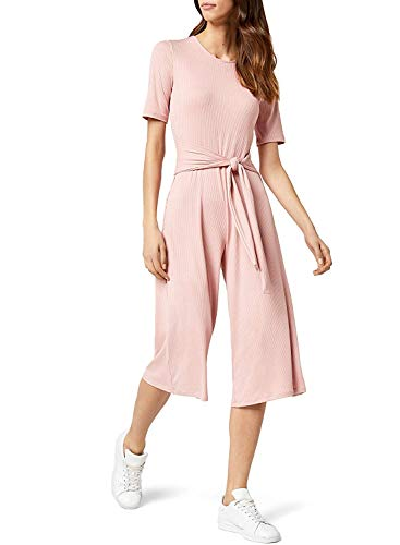Marca Amazon - find. Rib Cropped Jumpsuit_18AMA040 - Jumpsuit Mujer, Pink, 40, Label: M