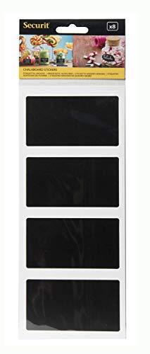 Securit selbstklebende Tafelsticker rechteckig, Tafeletiketten, schwarz, 8 Stück, 8,5 x 5 cm groß, beschreibbar mit Kreidemarkern