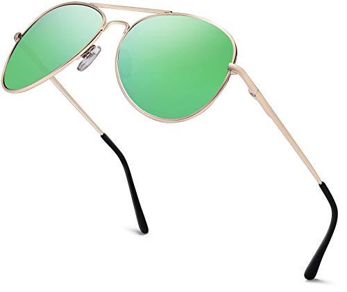 Gafas de aviador para hombre con espejo   Gafas de sol unisex con bisagra de muelle   Filtro de protección UV400 categoría 3 CE 81 - Marco dorado, cristal verde con efecto espejo. Talla única