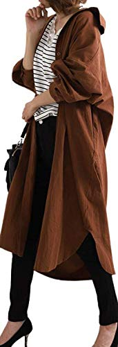 (ポンデアバン) 長袖 ロングシャツ ワンピース コート 無地 ビックシルエット (ホワイト, XL)